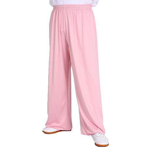Tai Chi broek van zijde, voor dames en heren, sportieve lantaarn, lange broek, yogabroek voor vechtkunst, elastisch, roze-XXXL