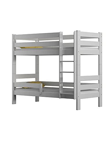Children's Beds Home - Litera de madera maciza - Toby para niños y niños pequeños - Tamaño 140 x 70, color blanco, cajón no, colchón de látex de alta resistencia de 12 cm