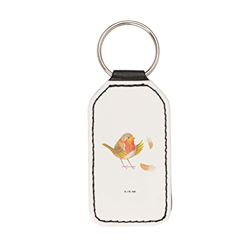 Mr. & Mrs. Panda Glücksbringer, Taschenanhänger, Rechteckig Schlüsselanhänger Rotkehlchen mit Federn - Farbe Weiß