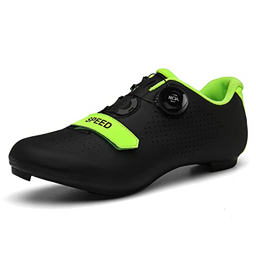 Scurtain Unisex Mens Womens Road Bike Cycling Shoes Riding Shoes with Compatible Cleat Peloton Shoe with SPD and Delta for Men Women Lock Pedal Bike Shoes Indoor Outdoor Black 7.5 Men
