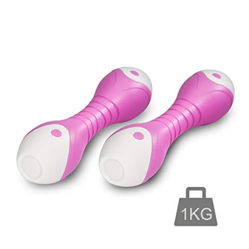 Zoomyo Peak Power Fitness Set di manubri ergonomici, molto antiscivolo e piacevoli da tenere in mano anche con le dita sudate, set di manubri per casa o palestra, giallo (2 x 1 kg, rosa)