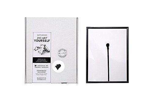 Mal-Set für abstrakte Kunst - zum Selbermachen - all inclusive - mit Ästhetik-Garantie vom Profi, Schwarz auf Weiß, 19 x 25 cm, incl. Echtglas-Rahmen