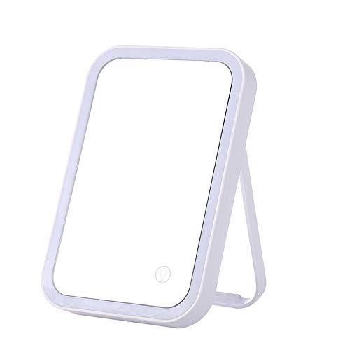 ZGQA-GQA Touch Iluminado Maquillaje Espejo, Maquillaje Escritorio Espejo de baño Magnificación Regulable 180 ° de rotación Iluminado encimera Espejo cosmético