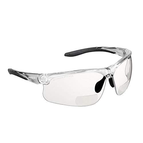 voltX 'Constructor Ultimate' Bifokale Schutzbrille mit Lesehilfe (transparenter Rahmen, transparente Gläser +2,0 Dioptrien) CE EN166FT-zertifiziert – Bifokale Rad-/Sportbrille Premium – UV400 Linse