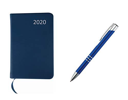 Taschenkalender 2020 / ca A7 / PU Einband / Farbe: blau + Metall Kugelschreiber