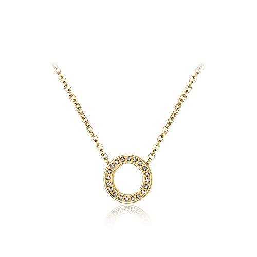 HUIHH Klassische Sweet Circle Chokers Halskette Pflasterstein Einstellung Strass Gold Farbe Edelstahl Weibliche Halskette Schmuck Roségold Farbe