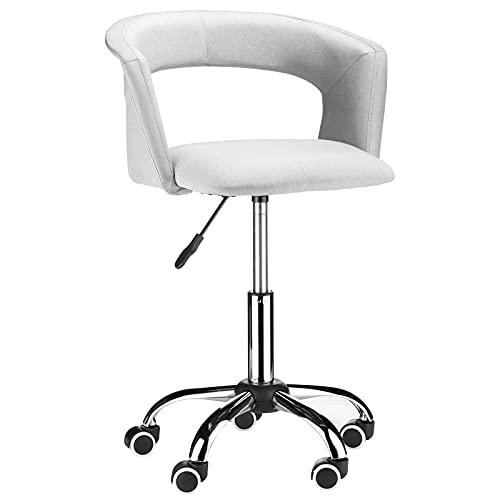 Flamingo Casa - Sillón de bar giratorio de casa, moderno, ajustable, ergonómico, de lino, de oficina, con apoyabrazos, respaldo, tocador, sillas de escritorio, color gris