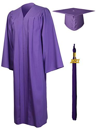 GraduationMall Matte Graduation Gown Cap Tassel Set 2021 for High School and Bachelor Purple 48(5'3'-5'5')