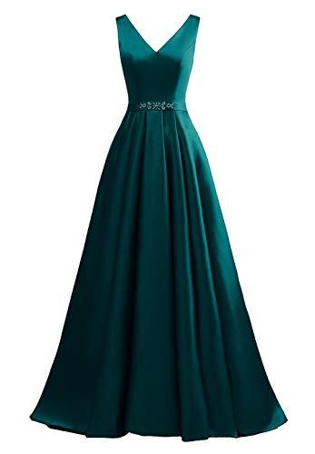 yinyyinhs Damen V-Ausschnitt Ballkleider Eine Linie Lange Perlen Formelle Abendkleider mit Taschen Größe 42 Blaugrün