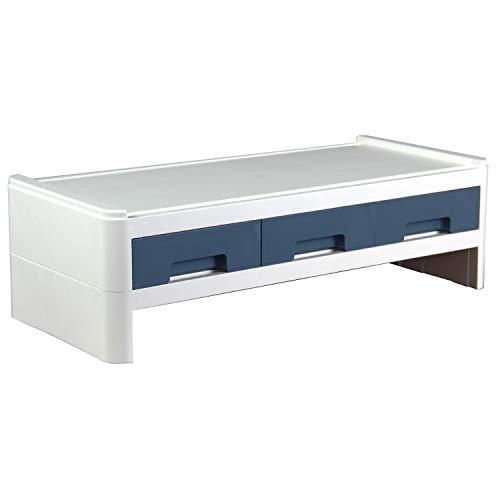 MRG パソコン台 引き出し パソコン モニター台 幅50 2段 モニタースタンド 机上台 シンプル おしゃれ 画面 台 PC デスク 学習机 机上 卓上 デスクトップ ノートパソコン キーボード マウス スマホ タブレット 収納 (ブルー)
