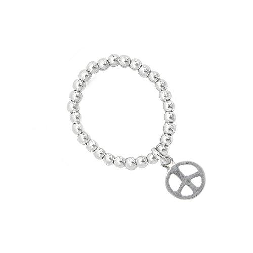 Beau Soleil Jewelry 925 Sterling Silber Ring Kugelring mit Peace Anhänger Symbol Schmuck aus echtem Silber (55 (17.5)) (58)