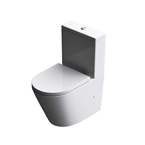 Stand-WC Toilette Aachen179T Stand-Toilette aus Keramik spülrandloses WC bodenstehende Toilette