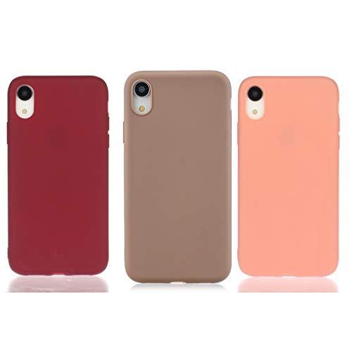 Everainy 3X Compatibel voor iPhone XR Silicone Geval Hoes Ultra slank Zaak Ultradun Hoesje Rubber Stootvast Bumper Schokbestendig TPU Case Cover (rood 1/bruin/oranje)