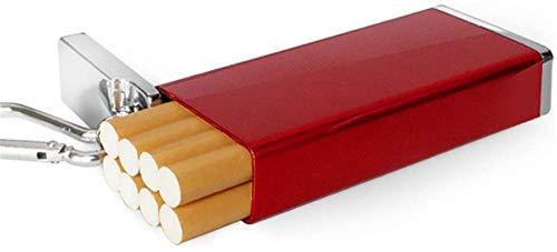 Pitillera de aluminio con soporte de llavero para hombre, mini resistente al agua, caja cuadrada para 8 cigarrillos, multicolor rojo