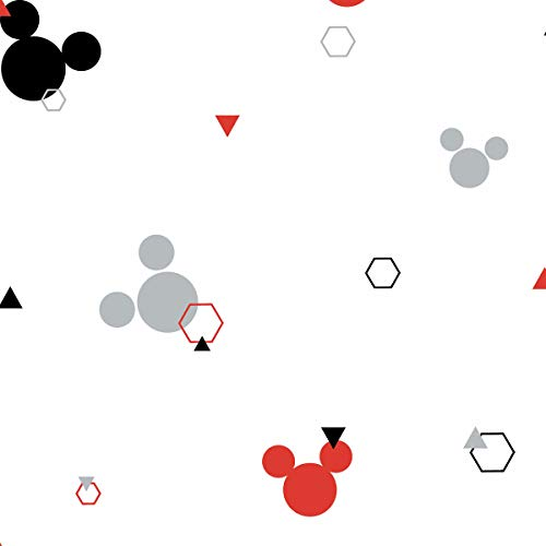DI0927 York Disney Mickey Mouse Geo Unpasted Red Black Wallpaper
