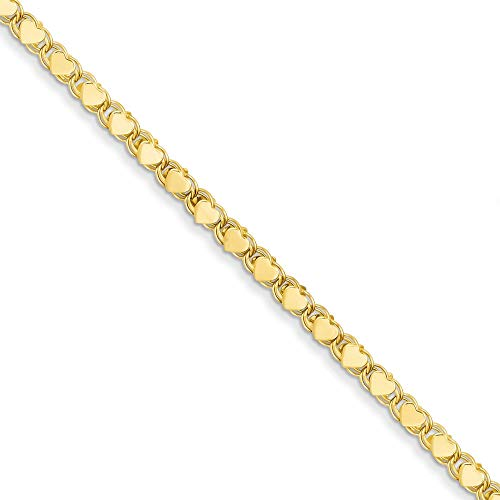 14k Yellow Gold Double Sided Heart 10 Inch Anklet Ankle Beach Chain Bracelet Fine Jewelry For Women Gifts For Her B C Gold Bracelets
