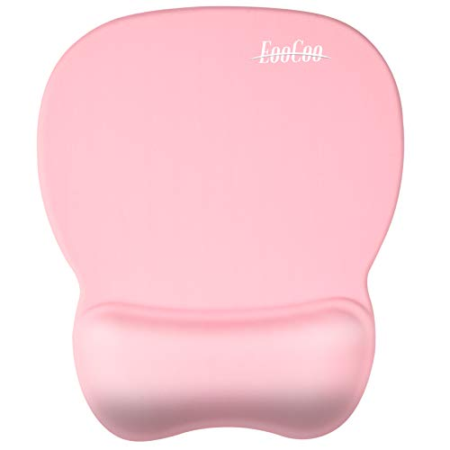 Ergonomic Gaming Mouse Pad with Wrist Support Gel Rest for Laptop at Internet Cafe, Home & Office, Non-Slip Silicone Base Mouse Mat MP04PN - Pink