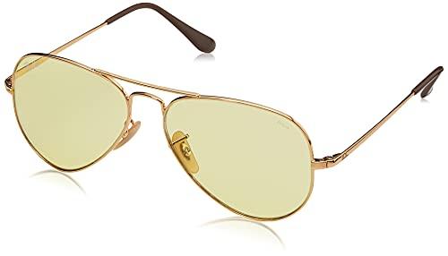 Ray-Ban RB3689 Metal II Evolve Photochromic Polarized Aviator Sunglasses, Gold/Photochromatic Light Yellow, 55 mm
