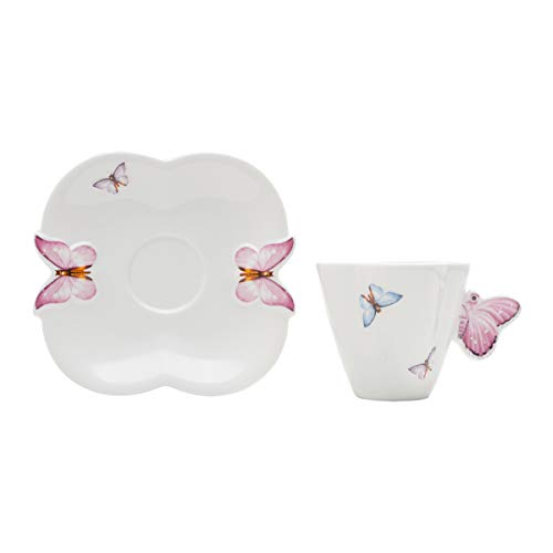 Jogo de 6 Xícaras para Café de Porcelana Rojemac Branco / Rosa