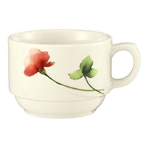 Seltmann 001.527894 Luxor Porzellan 1 Obere zur Kaffeetasse, Rund mit Relief, Creme/Grün/Rot, 34426 Livorno Floral Dekor, 0.18 L, 7.9cm Durchmesser, 5.7cm Höhe, 6 Stück