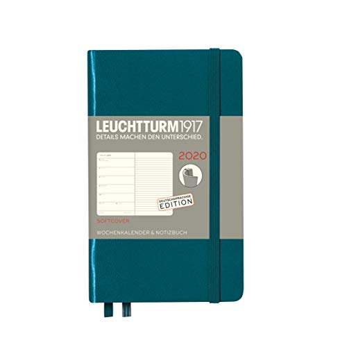 Wochenkalender & Notizbuch 2020 Softcover Pocket (A6), 12 Monate, Pacific Green, Deutsch