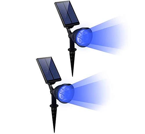 CANAGER Solar Spotlights Outdoor,Waterproof Solar Powered Landscape Lights for Yard,Garden,Driveway-Blue-2Packs