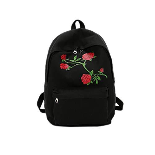 LABIUO Fashion Rose Bestickter Rucksack Großer Kapazität Canvas Reiserucksack Handtasche(Schwarz,Freie Größe)