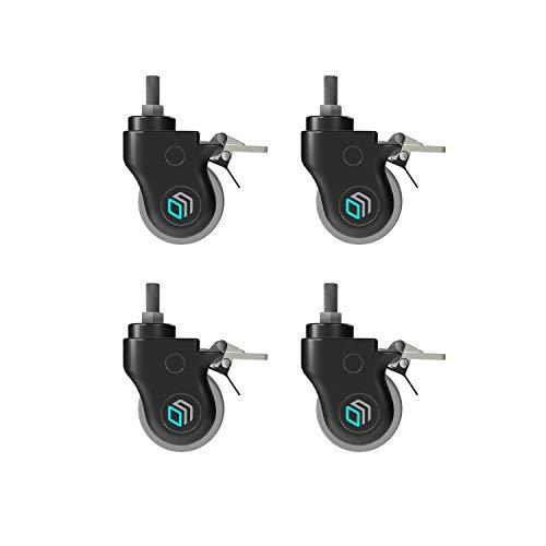 ONKRON 4 rullar universellt hjulset för TV-ställ stativ, rörliga möbler kan roteras 360° rörliga hjuldiameter 75 mm gänga M12 (12 mm) svart