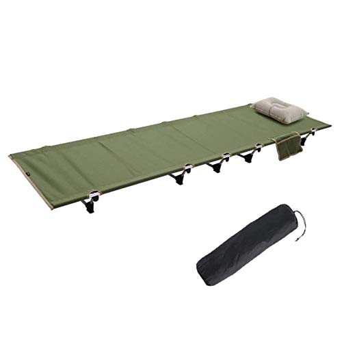 Cuna plegable para acampar al aire libre Cuna plegable para acampar - Cama plegable de lujo para una sola persona en una bolsa con almohada para uso en interiores y exteriores - Diseño ultraligero, có