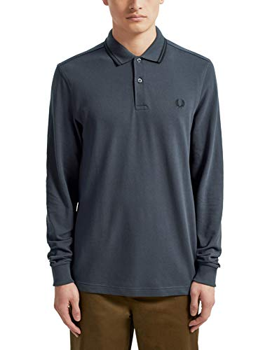 Fred Perry - Camiseta de manga larga con doble punta, color azul marino