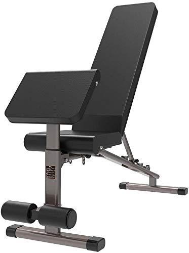 AOLI Banco de pesas ajustable Silla de ejercicios Banco con mancuernas Tabla de abdominales Entrenador multifuncional Entrenador abdominal, con 300 kg,Negro,140 * 48 * 123cm
