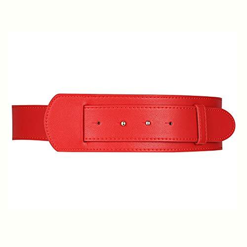 NIBABA Cinturón Elástico para Ropa Cintura de cinturón de Damas con Cintura Decorativa Cinturón Ancho de Abrigo Cinturón Vintage (Color : Red, Size : Large)