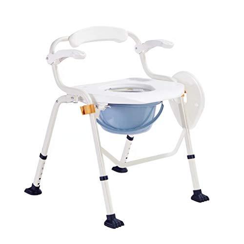 Nuitab Douchestoel, verrijdbare toiletstoel, 5 standen, in hoogte verstelbaar, draagbare glijbescherming, ouderen, zwangere vrouwen, gehandicapten, patiënten, camping, klimmen, buitenactiviteiten, wit