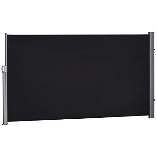 Outsunny Store latéral Brise-Vue paravent rétractable dim. 3L x 1,60H m alu. Polyester Anti-UV Haute densité 180 g/m² Noir