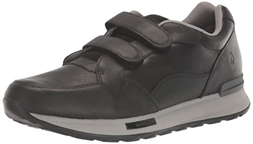 Hush Puppies mens Fashion Casual Sneaker, Black Leather, 9 Wide US