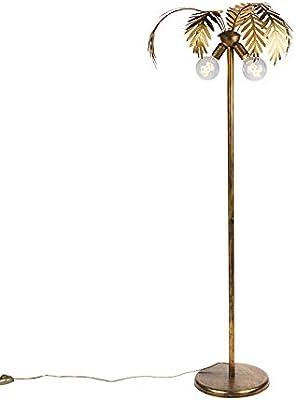 QAZQA - Lampadaire Rétro - 2 lumière - H 1560 mm - Doré/Laiton - Rétro - Éclairage intérieur - Salon   Chambre   Cuisine   Salle à manger