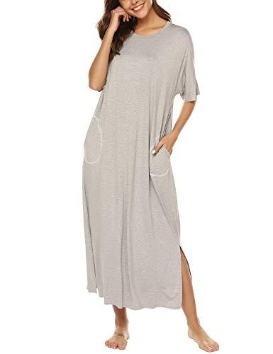 BESDEL Nightgown Damen Schlafanzug Baumwolle Nachthemd Lange Nachtwäsche mit Taschen Grau S