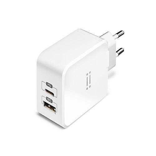 aiino Alimentatore USB-C per iPhone 12/12 PRO da 27W, Fast Charger, 2 Porte USB Quick Charge 3.0 e USB Type C PD, per iPhone 12/12 mini/11 Pro/11 PRO Max/11/X/SE, iPad/iPad PRO, Bianco