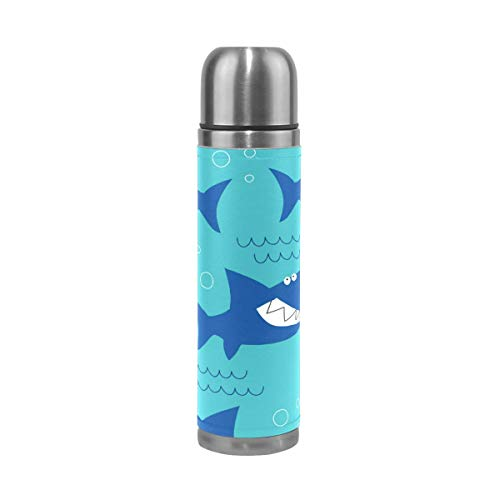 Thermos ThermoCafé Botella térmica aislada, Patern de tiburón de mar océano,Frasco de Vacío de Acero Inoxidable 500 ml