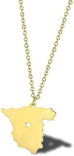 LBBYLFFF Collar de Moda de Acero Inoxidable, Oro, España, Tarjeta, Collar, Viaje Europeo, conmemorativo, España, Collar glamoroso, Regalos