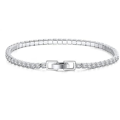 Damen 4mm Tennis Armband silber 5A Zirkonia Kristall Frauen Armreif Geburtstag Hochzeit Geschenk für Mutter Freundin Ehefrau Brautjungfern