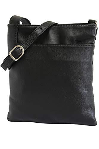 AMBRA Moda Italienische Ledertasche Schultertasche Crossover Umhängetasche Nappaleder Damen Kleine Tasche NL611 (Schwarz)
