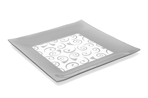 GAC Large 13 Inch Tempered Glass Tray Square Glass Platter Break and Chip Resistant – OvenMicrowave Safe – Dishwasher Safe – Decorative Paisley Pattern Plate Glass Serving Tray