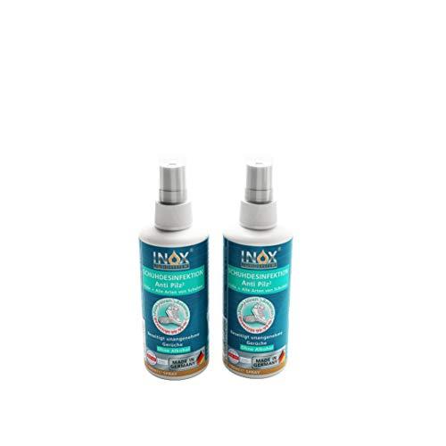 INOX® Schuhdesinfektion Anti Pilz, 2 x 100ml - Desinfektions-Spay mit Langzeitwirkung gegen Fußpilz, Nagelpilz, unangenehme Gerüche & Bakterien