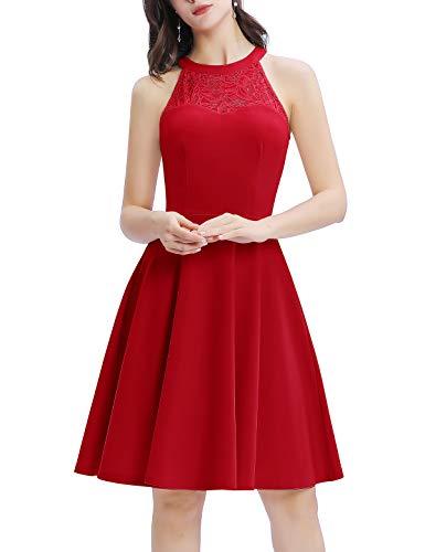 Bbonlinedress Damen Cocktailkleid Elegant Abendkleider Rockabilly Kleid Retro Vintage Neckholder Kleider Brautkleid Red L