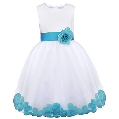 Freebily Vestido Elegante Boda Fiesta con Flores para Niña Vestido Blanco de Princesa para Chica Dama de Honor, Azul, 5 años