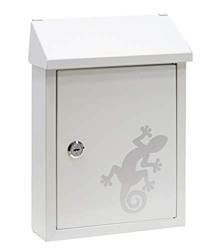 Arregui E5721-SAL Smart Graphic E5724-SAL Individueller Briefkasten aus Stahl mit dekorativem Salamander, Mit Briefeingang auf der Rückseite, Größe S (DIN A5), Weiß mit Siebdruck, 30 x 21,6 x 8 cm