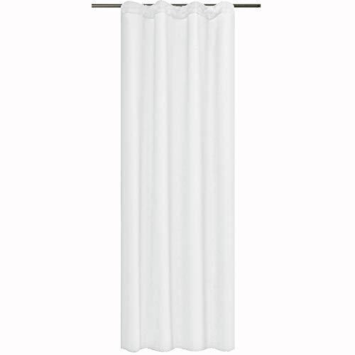 JEMIDI Leichter Schal mit Kräuselband Blickdicht Aber Lichtdurchlässig 140cm (B) x 245cm (L) für Schiene Schal Vorhang Gardinen Schal Store Vorhang Vorhänge Universalband Weiß