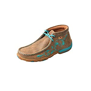 Twisted X Women's Chukka Leather Driving Moccasins, Bomber/Turquoise Flowers, 9 Medium