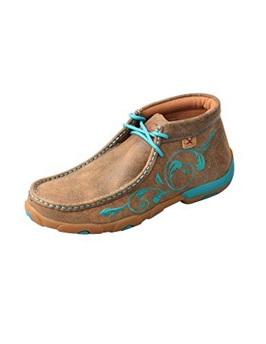Twisted X Women's Chukka Leather Driving Moccasins, Bomber/Turquoise Flowers, 7.5 Medium